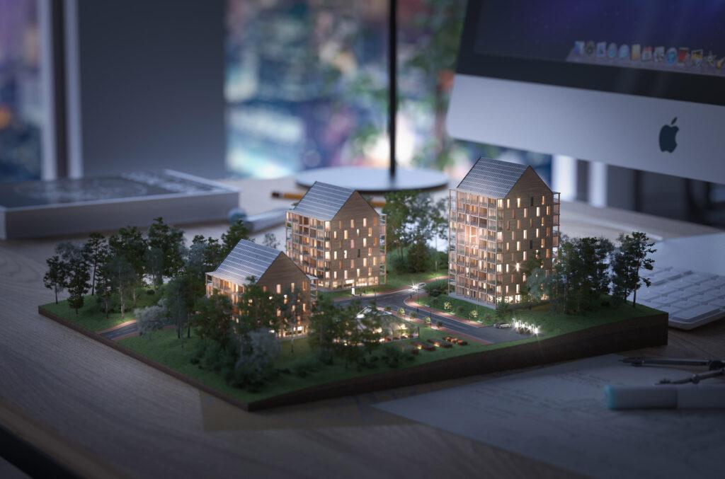 Modell av ETC Byggs passivhus